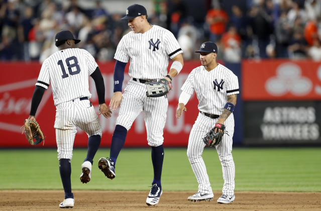 Aaron Judge returned to the New York Yankees on Friday night after missing two months with an oblique injury. (AP)