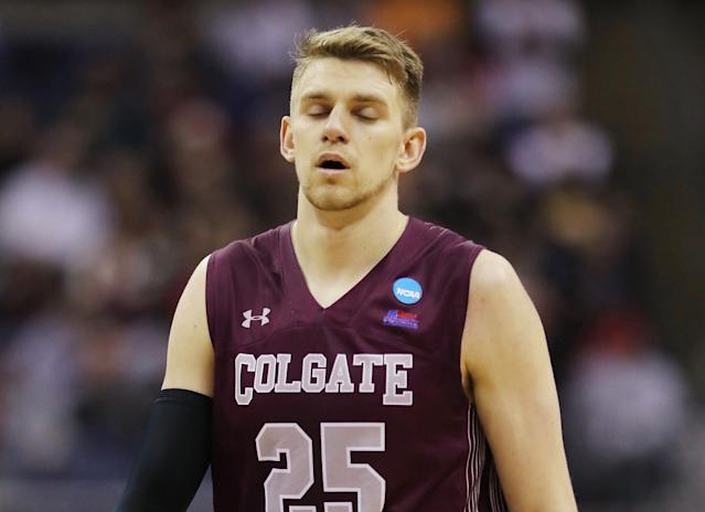 Patriot League Player of the Year Rapolas Ivanauskas sat the entire second half of Colgate's close loss to Tennessee with pink eye. (Getty)