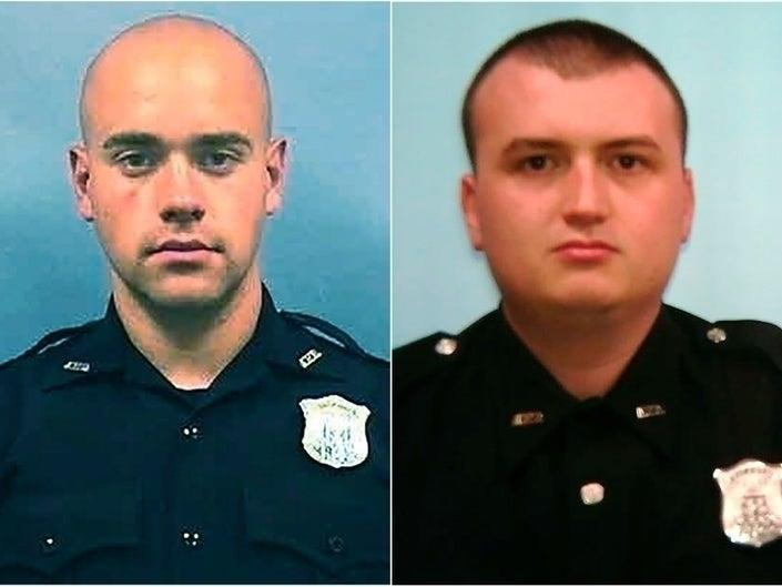 Officer Garrett Rolfe, left and Officer Devin Brosnan, both face charges in the death of Rayshard Brooks. Rolfe is charged with felony murder, while Bronsan faces three lesser charges.
