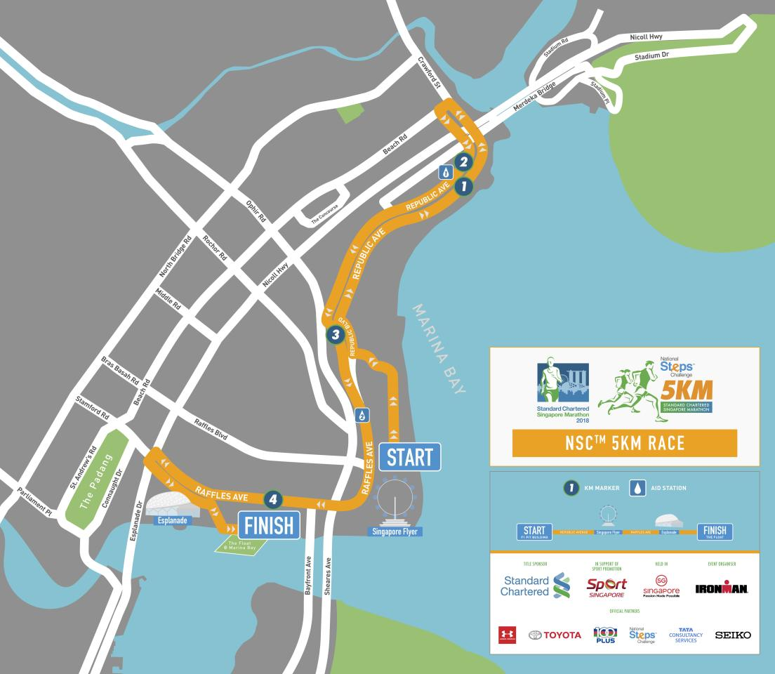 <p>Route map for 5km race in Standard Chartered Singapore Marathon 2018 (Infographic: Standard Chartered Singapore Marathon) </p>