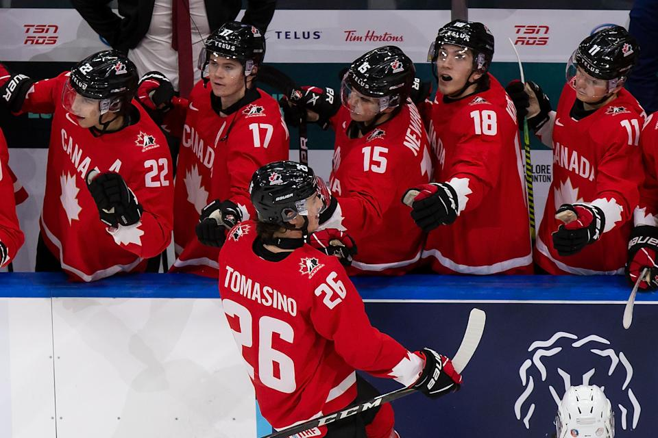 EDMONTON, AB - DECEMBER 29: Philip Tomasino #26 of Canada celebrates his goal against Switzerland during the 2021 IIHF World Junior Championship at Rogers Place on December 29, 2020 in Edmonton, Canada. (Photo by Codie McLachlan/Getty Images)