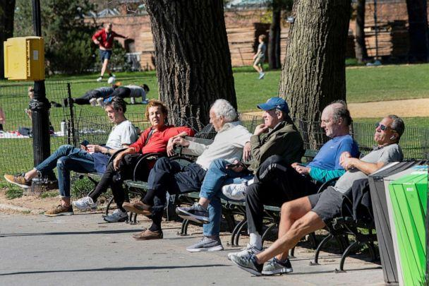PHOTO: People try to keep a social distance while they enjoy a sunny day at Central Park, as the outbreak of coronavirus disease (COVID-19) continues, in New York City, April 6, 2020. (Eduardo Munoz/Reuters)