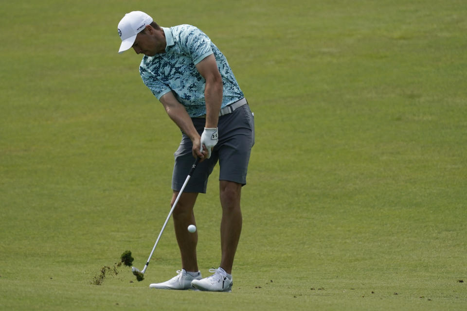Jordan Spieth hits from the fairway on the 16th hole during a practice round at the PGA Championship golf tournament on the Ocean Course Tuesday, May 18, 2021, in Kiawah Island, S.C. (AP Photo/Matt York)