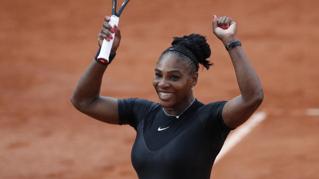 "<a class=""link rapid-noclick-resp"" href=""/olympics/rio-2016/a/1132744/"" data-ylk=""slk:Serena Williams"">Serena Williams</a> of the U.S. celebrates winning her third round match against Germany's Julia Georges of the French Open tennis tournament at the Roland Garros stadium in Paris, France, Saturday, June 2, 2018. (AP Photo/Christophe Ena )"