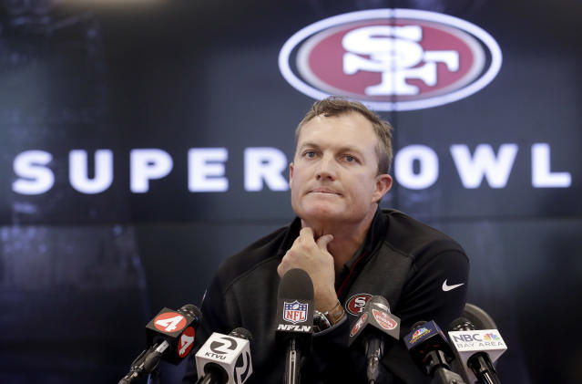 San Francisco 49ers general manager John Lynch speaks to reporters at the team's football facility in Santa Clara, Calif., Monday, April 23, 2018. (AP Photo/Jeff Chiu)