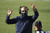 Penn State head coach James Franklin calls for a 2-point conversion during an NCAA college football game against Michigan State in State College, Pa., on Saturday, Dec. 12, 2020. Penn State defeated Michigan State 39-24. (AP Photo/Barry Reeger)