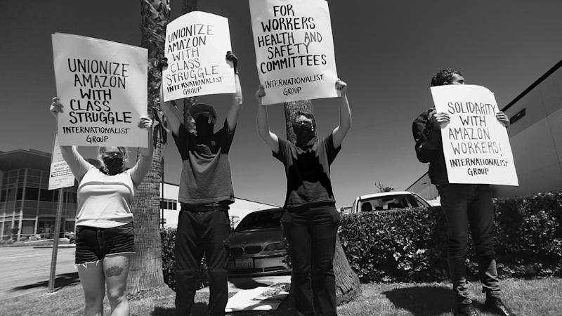 Amazon workers protest against covering up the scale of the outbroke in their facility during the coronavirus pandemic on May 01, 2020 in Hawthorne, California. (Tommaso Boddi/Getty Images)