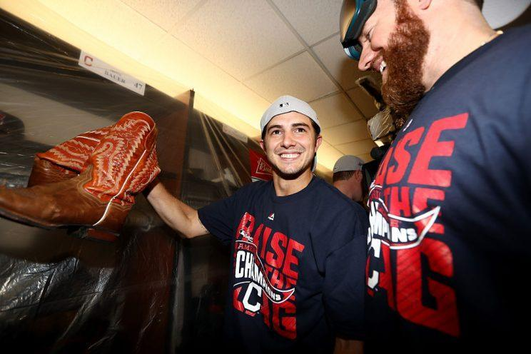 TORONTO, ON - OCTOBER 19: Ryan Merritt #54 of the Cleveland Indians celebrate with his teammates in the locker room after defeating the Toronto Blue Jays with a score of 3 to 0 in game five to win the American League Championship Series at Rogers Centre on October 19, 2016 in Toronto, Canada. (Photo by Elsa/Getty Images)