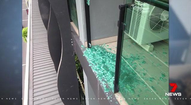 Exploding balcony glass has always been noted in other incidents. Photo: 7 News