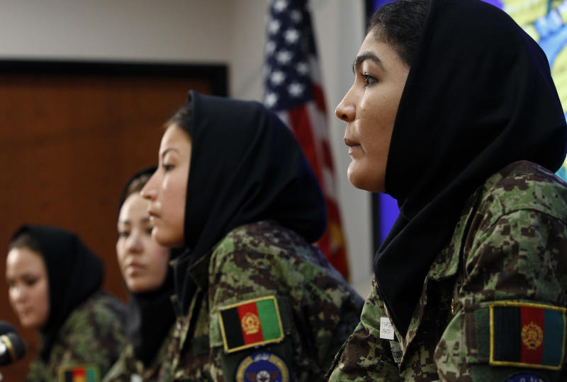 Afghan Army 2nd Lt. Sourya Saleh, from left, 2nd Lt. Narges Safari, 2nd Lt. Masooma Hussaini, and 2nd Lt. Mary Sharifzada, four Afghan women beginning military pilot training in the United States, take part in a news conference at Lackland Air Force Base,  Wednesday, July 13, 2011 in San Antonio, Texas. The four women, all in the early 20s, are breaking the mold in male-dominated Afghanistan as foreign troops continue to help build the nation's military. (AP Photo/Eric Gay)