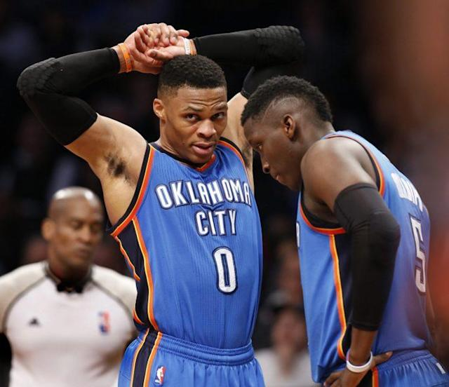 Russell Westbrook found Victor Oladipo for one of the most absurd plays of the season on Thursday. (Kathy Willens/AP)