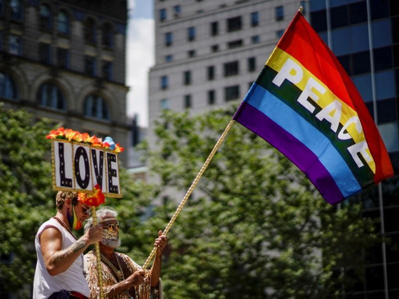 FILE PHOTO: Joint LGBTQ and Black Lives Matter march in New York City