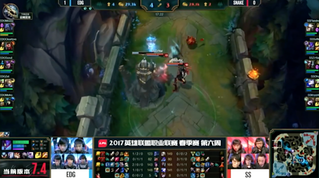 EDward Gaming also failed to allocate resources well in their loss to Snake (lolesports)