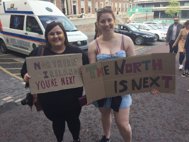Claire Donaldson and Ellie Evans from Northern Ireland said they were 'so excited' about what the result means for women north of the border