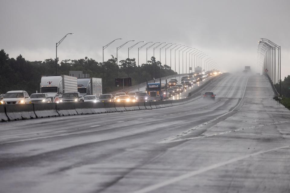 Traffic moves bumper to bumper along I-10 west as residents arrive into Texas from the Louisiana border ahead of Hurricane Ida in Orange, Texas (REUTERS)