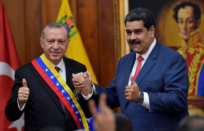 President Recep Tayyip Erdogan has backed embattled Venezuelan President Nicolas Maduro, who is facing a challenge from the opposition at home
