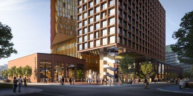 A rendering of a redevelopment concept for the Dominion Foundry site in Toronto released Wednesday by the Friends of the Foundry group. (Friends of the Foundry - image credit)