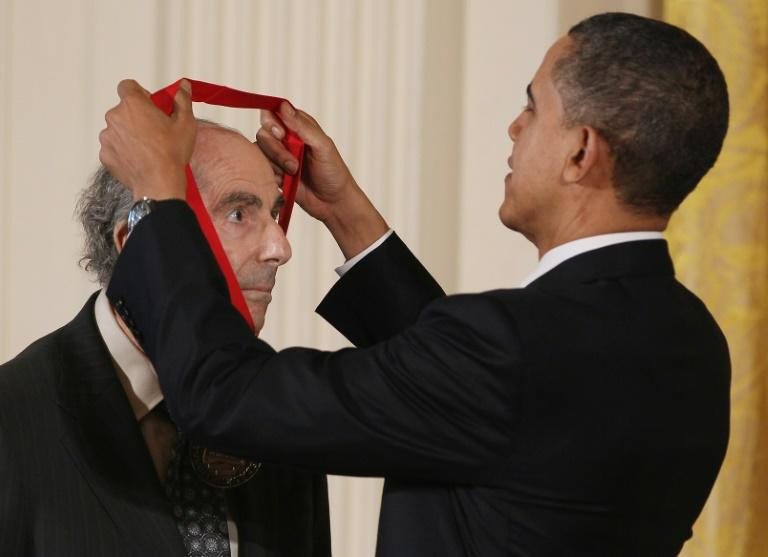 Then US President Barack Obama presents the 2010 National Humanities Medal to Roth