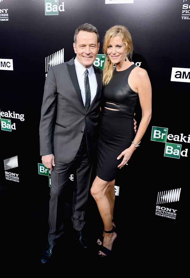 "CULVER CITY, CA - JULY 24: Actors Bryan Cranston and Anna Gunn arrive as AMC Celebrates the final episodes of ""Breaking Bad"" at Sony Pictures Studios on July 24, 2013 in Culver City, California. (Photo by Mark Davis/Getty Images)"