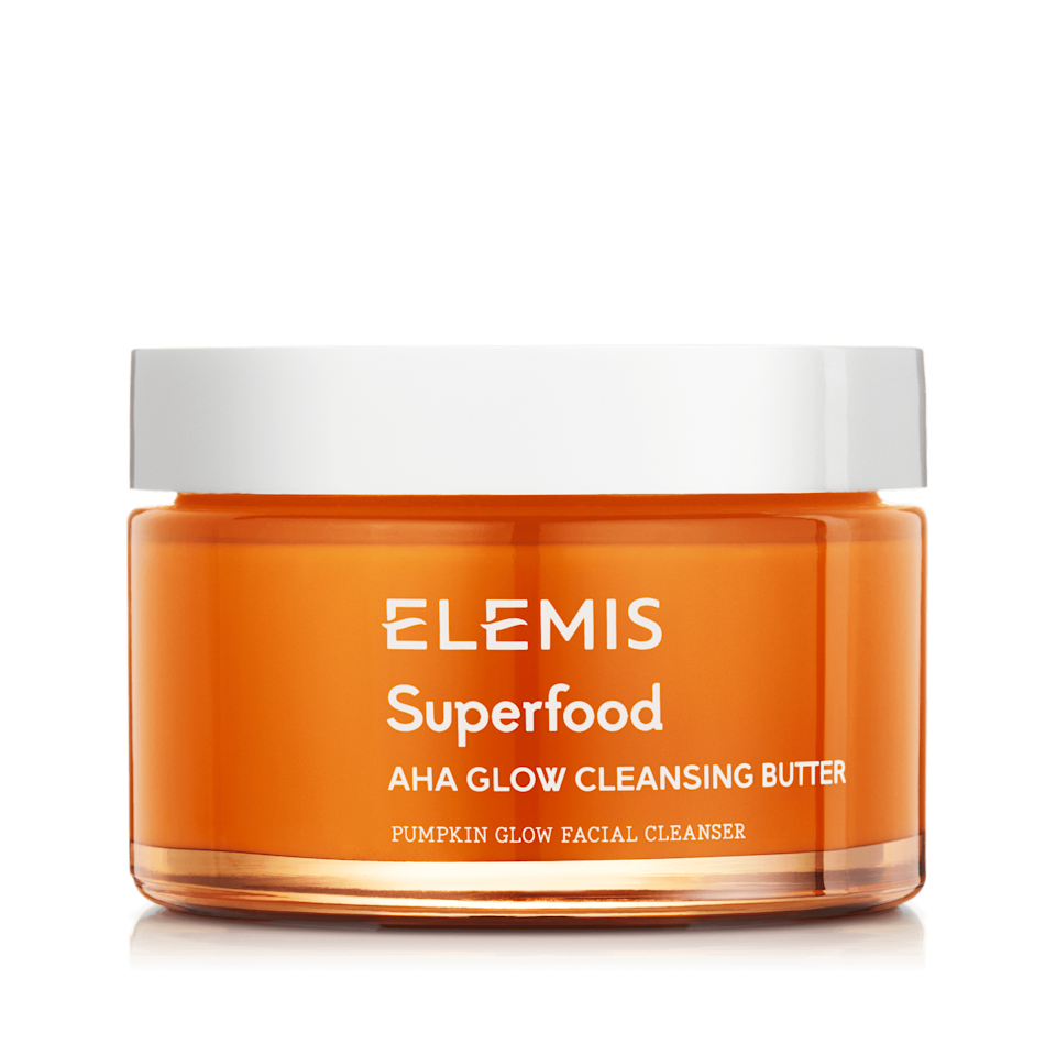 <p>Like the entire Elemis Superfood range, this unique butter-to-milk cleanser harnesses the power of natural ingredients. The <span>Elemis Superfood AHA Glow Cleansing Butter</span> ($38) is blended with fermented pumpkin enzymes and acerola cherry which are naturally rich in alpha hydroxy acids (the water-soluble acids known for their exfoliating powers) to help to brighten up lackluster skin. To ensure that the cleansing butter won't aggravate sensitive skin, it also includes mango butter - both rich in omega fatty acids to help nourish and hydrate skin - and fermented rice water, which helps calm the skin down and prevent irritation.</p>