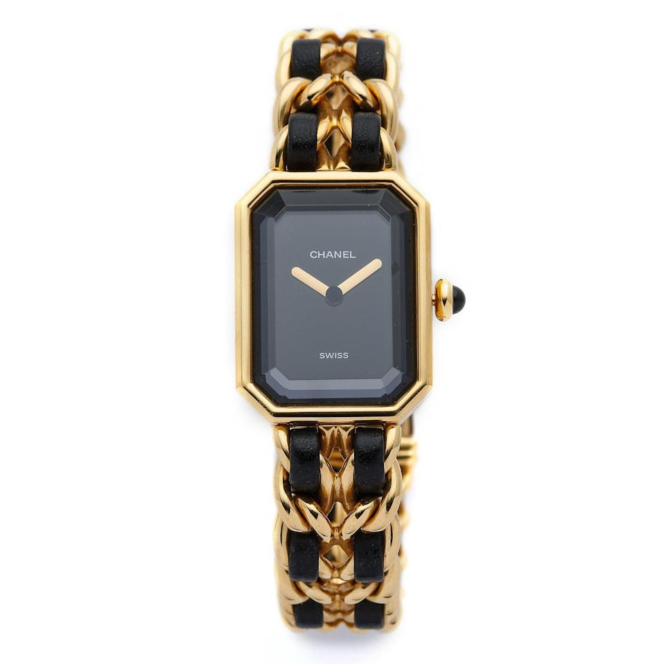 """When looking for an investment or heirloom piece, vintage Chanel is a no-brainer. With its leather-woven chain band and simple clock face, you can wear this stunner with anything and everything. $2542, Shopbop. <a href=""""https://www.shopbop.com/vintage-chanel-premiere-watch-what/vp/v=1/1500075515.htm"""" rel=""""nofollow noopener"""" target=""""_blank"""" data-ylk=""""slk:Get it now!"""" class=""""link rapid-noclick-resp"""">Get it now!</a>"""