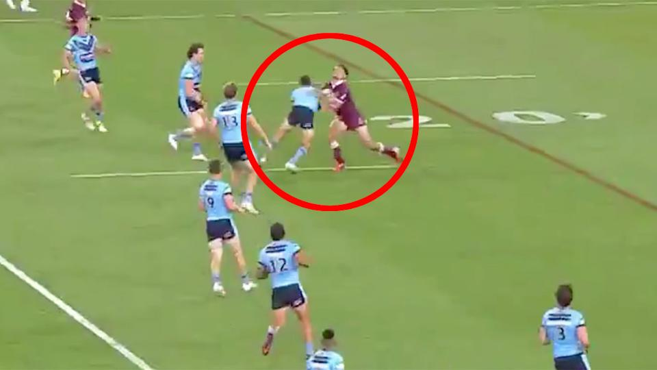 Pictured here, the Nathan Cleary tackle that could land the NSW half in trouble.