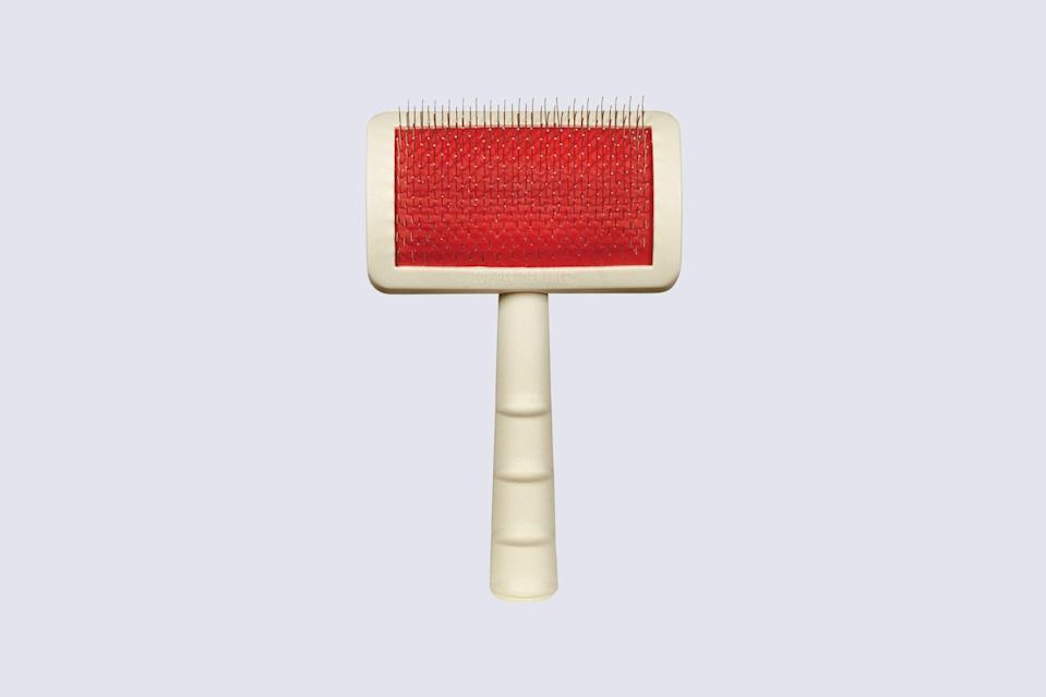 "<p>Chinchar says that dogs with double coats, like huskies, chows, and poms, require a good slicker brush for adequate grooming. This bestselling brush is made with delicate metal bristles that can remove everything from loose hair to matted tangles in a pinch.</p> <p><strong><em>Shop Now: </em></strong><em>Master Grooming Tools Universal Pet Small Slicker Brush, $8.79, </em><a href=""https://www.amazon.com/Master-Grooming-Tools-Universal-Slicker/dp/B06WP8GDQV/ref=as_li_ss_tl?ie=UTF8&linkCode=ll1&tag=msllifebestdogbrushesbasedonhairtypecbiggsaug20-20&linkId=4e10d3a4553a0139c3ae1a261265a040&language=en_US"" rel=""nofollow noopener"" target=""_blank"" data-ylk=""slk:amazon.com"" class=""link rapid-noclick-resp""><em>amazon.com</em></a><em>.</em></p>"