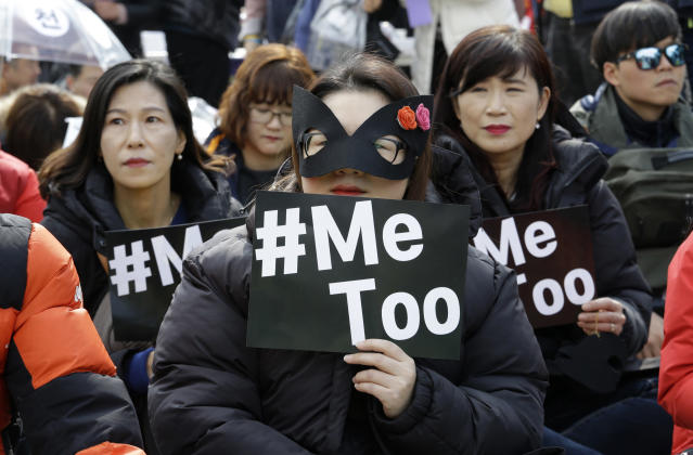 <p>Female workers supporting the #MeToo movement and wearing black attend a rally to mark International Women's Day in Seoul, South Korea, on March 8, 2018. (Photo: Ahn Young-joon/AP) </p>
