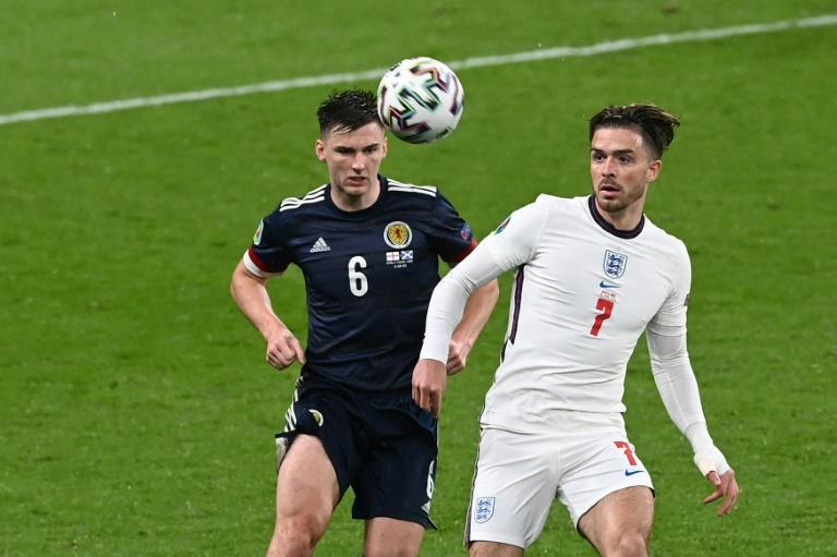 Jack Grealish (right) came on as a substitute against Scotland