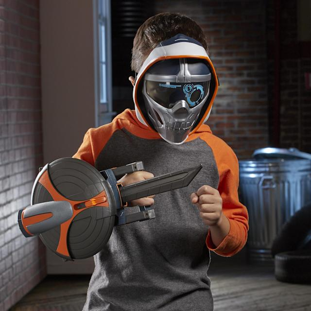 Take a walk on the dark side with the Taskmaster Kids Mask and Stealth Slash Sword and Shield Role Play Toy. (Photo: Hasbro)