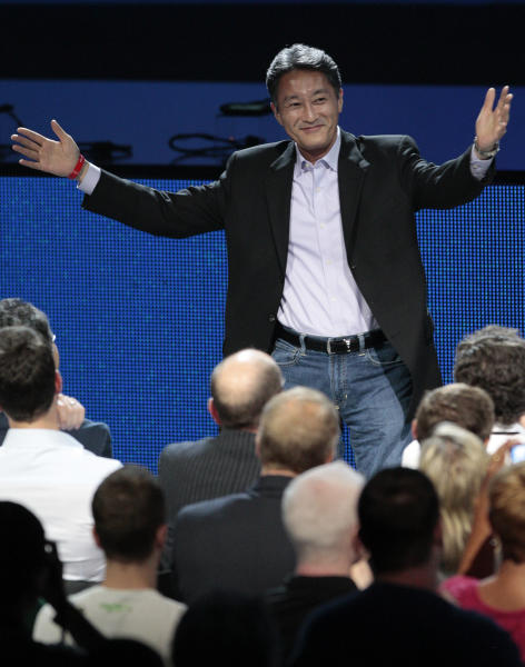 Kazuo Hirai, president and CEO of Sony Corporation, is introduced at the Sony Electronic Entertainment Expo (E3) news conference in Los Angeles, Monday, June 4, 2012. (AP Photo/Jason Redmond)