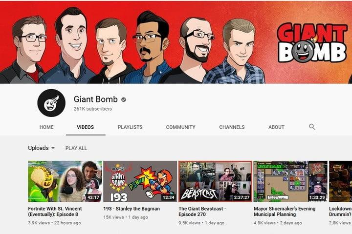 Giant Bomb YouTube channel screenshot