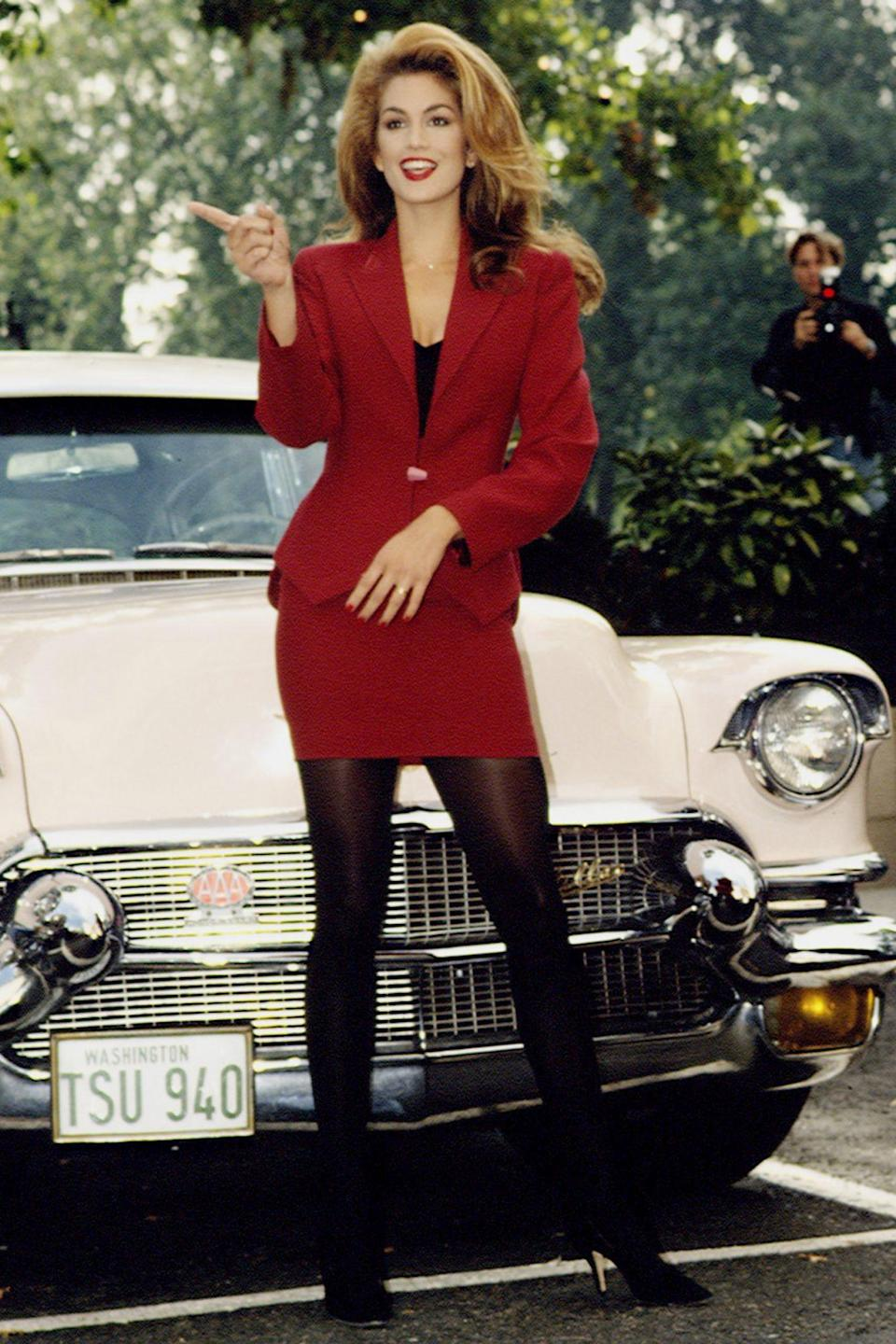 <p>Getting to the point during a 1992 Revlon promotional event in Europe.</p>