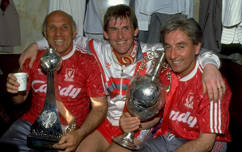 Kenny Dalglish (centre) won the league, the cup and in he won in Europe too - Getty Images