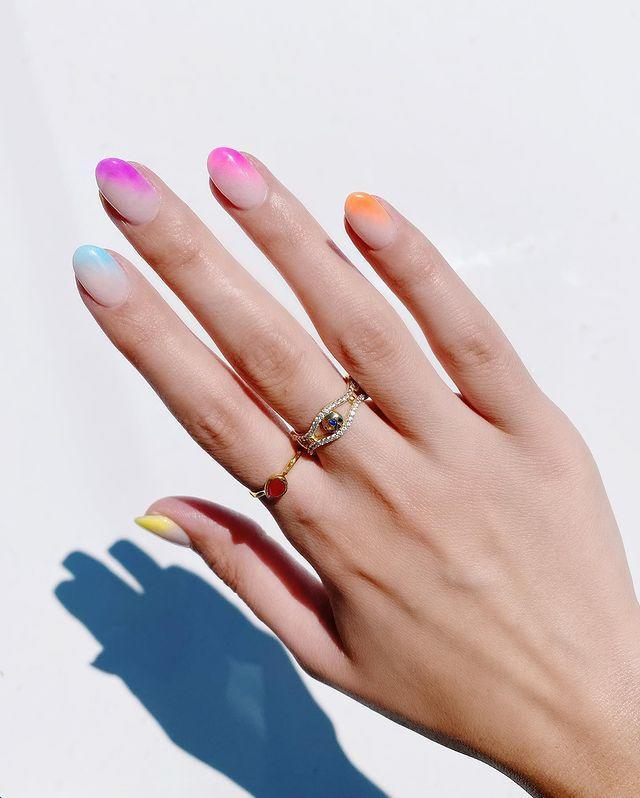 """<p>Fading colour into nude not only looks chic, it also makes it harder to spot when your nails grow out.</p><p><a href=""""https://www.instagram.com/p/CB02id8Hn7C/"""" rel=""""nofollow noopener"""" target=""""_blank"""" data-ylk=""""slk:See the original post on Instagram"""" class=""""link rapid-noclick-resp"""">See the original post on Instagram</a></p>"""