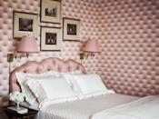 "<p>This pretty pink bedroom in <a href=""https://www.veranda.com/decorating-ideas/house-tours/a34244489/miles-redd-greenwich-house-tour/"" rel=""nofollow noopener"" target=""_blank"" data-ylk=""slk:a Connecticut home by Miles Redd"" class=""link rapid-noclick-resp"">a Connecticut home by Miles Redd</a> finds its inspiration in '80s design, and we couldn't love it more. This precious vignette is delicately lit with two pink, pleated sconces on either side to keep reading, writing, and conversing into the wee hours of the night. </p>"