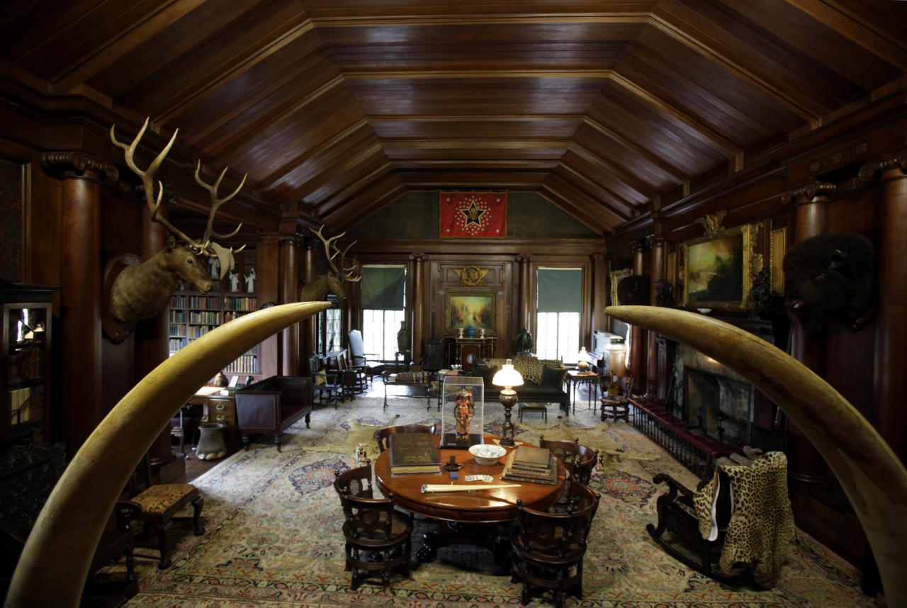 In this Nov. 23, 2011 photo, mementos from all periods of former President Theodore Roosevelt's life appear in his home in Oyster Bay, N.Y. The entire contents of Sagamore Hill, which former President Theodore Roosevelt called home until his death in 1919, are being packed up and put in storage because the National Parks Service is preparing for a three-year, $6.2 million renovation of the 28-room Queen Anne shingle-style mansion on the north shore of Long Island. (AP Photo/Seth Wenig)