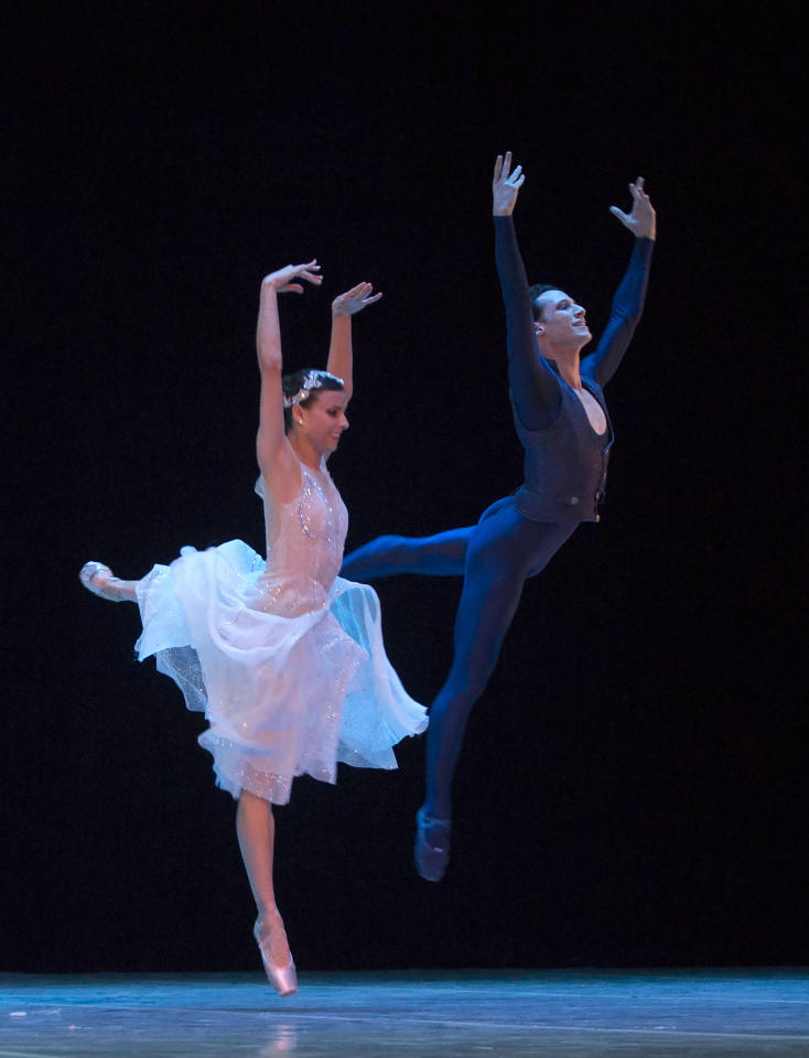 In this Oct. 29, 2018 photo, Cuban expatriate ballet dancers Yanela Pinera, left, and Camilo Ramos, currently working at the Queensland Ballet in Australia, perform in Havana, Cuba. In 2013, Cuba allowed citizens who had fled the country to retain all of their rights, from free health care to owning property, as long as they briefly returned every two years. (AP Photo/Desmond Boylan)