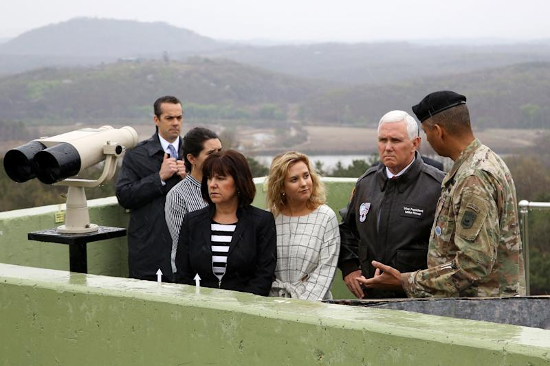 Vice President Mike Pence looks across to the north side of the border at the truce village of Panmunjom in the Demilitarized Zone (DMZ) in Paju, South Korea, in April.