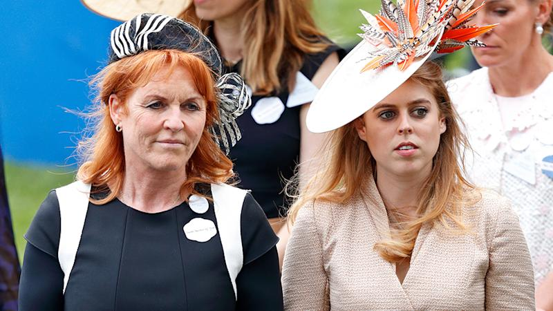 Sarah Ferguson pictured with Princess Beatrice both look sombre as Beatrice's wedding day axed