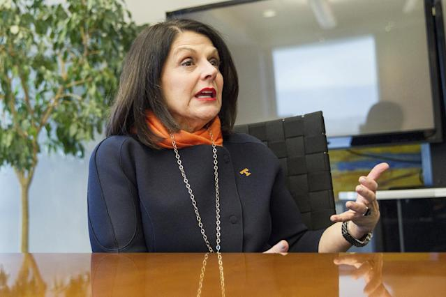 University of Tennessee-Knoxville Chancellor Beverly Davenport was fired Wednesday after just over a year on the job. (AP Photo/Erik Schelzig)