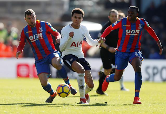 "Soccer Football - Premier League - Crystal Palace vs Tottenham Hotspur - Selhurst Park, London, Britain - February 25, 2018 Tottenham's Dele Alli in action with Crystal Palace's Aaron Wan-Bissaka and James McArthur Action Images via Reuters/Paul Childs EDITORIAL USE ONLY. No use with unauthorized audio, video, data, fixture lists, club/league logos or ""live"" services. Online in-match use limited to 75 images, no video emulation. No use in betting, games or single club/league/player publications. Please contact your account representative for further details."