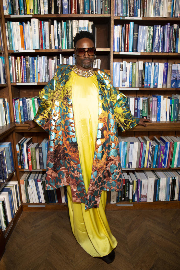 Billy Porter stunned in canary yellow at the Halpern SS20 show on Saturday [Photo: Getty Images]