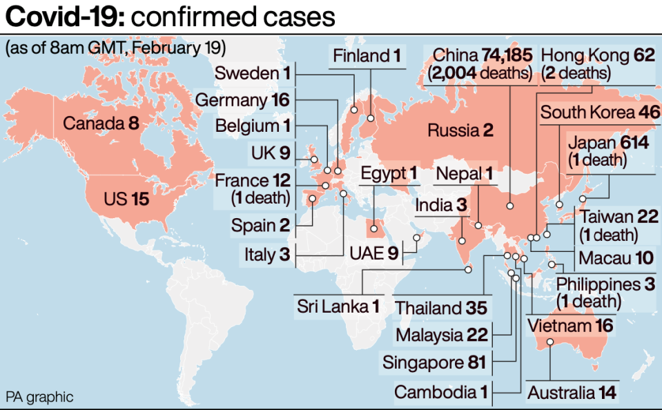 Confirmed cases of coronavirus across the world so far. (PA)