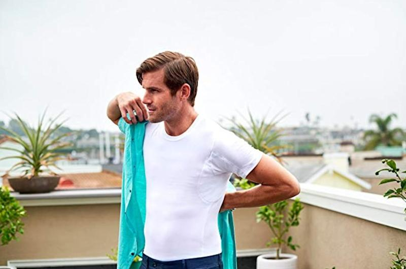 The T Thompson Tee eliminates any worry of sweaty underarms with its patented sweat pads built into each shirt. (Photo: Amazon)