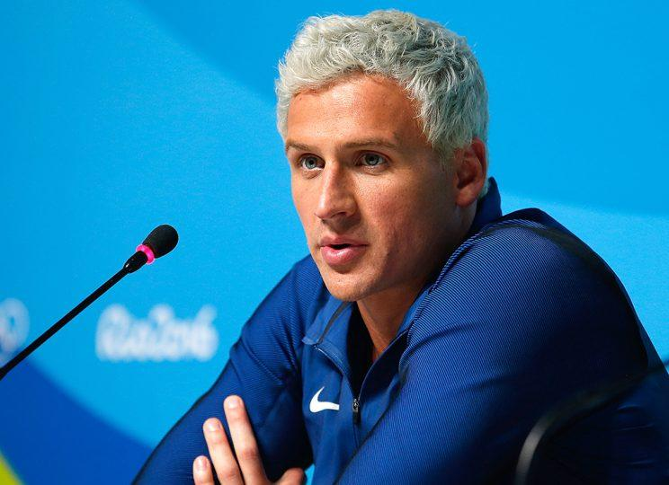 Ryan Lochte attends a press conference at the Rio Olympics. (Photo by Matt Hazlett/Getty Images)