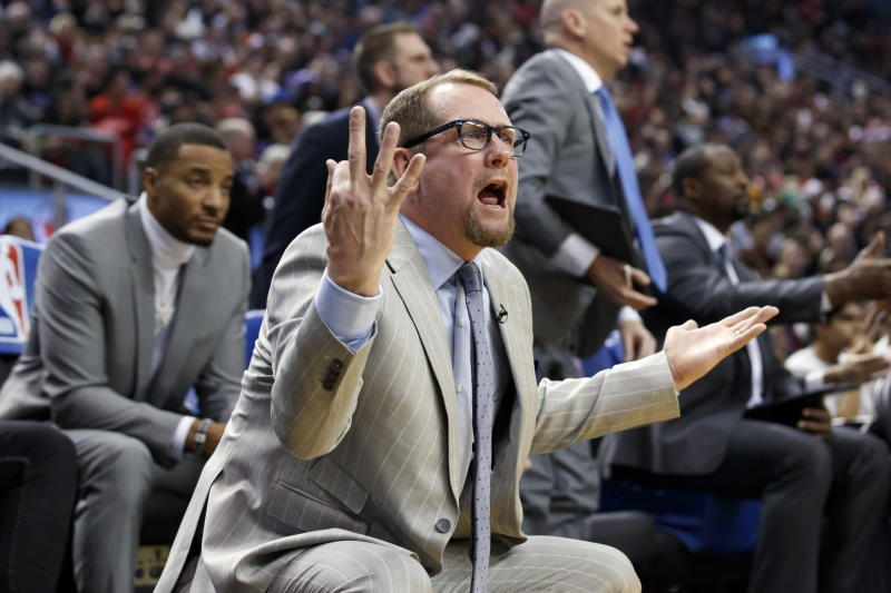 Toronto Raptors head coach Nick Nurse reacts to a call from a referee during first half NBA basketball action against the Boston Celtics, in Toronto, Wednesday, Dec. 25, 2019. (Cole Burston/The Canadian Press via AP)