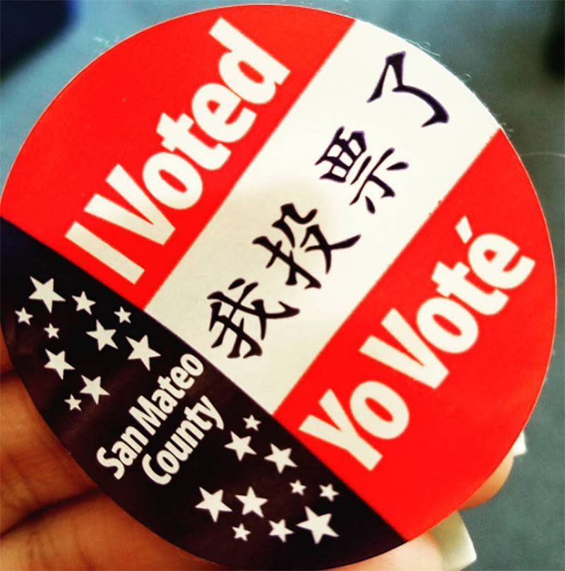<p>Voters in San Mateo County get a unique layout and trio of languages. (Photo: Instagram/patelkdp) </p>