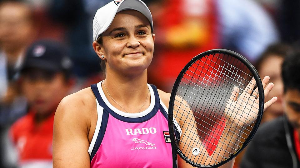 Ashleigh Barty, pictured here celebrating her win.