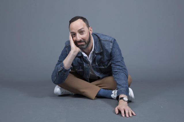 """Tony Hale poses at the Disney + launch event promoting """"Forky Asks A Question"""" at the London West Hollywood hotel on Saturday, Oct. 19, 2019 in West Hollywood, Calif. (Photo by Mark Von Holden/Invision/AP)"""